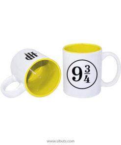 Taza blanca fondo amarillo Harry Potter Platform 9 3/4