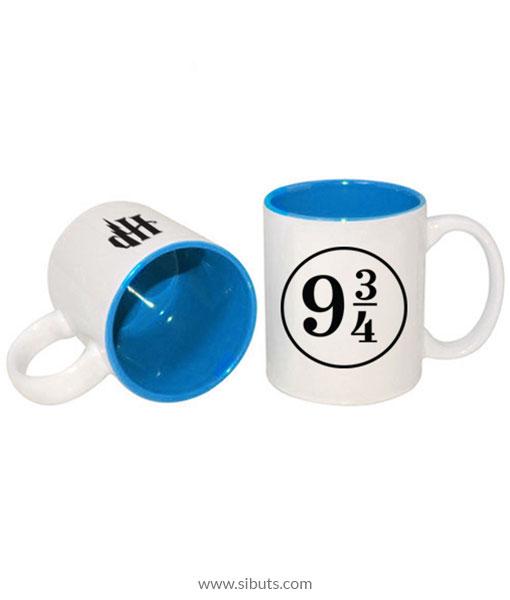 Taza blanca fondo azul Harry Potter Platform 9 3/4