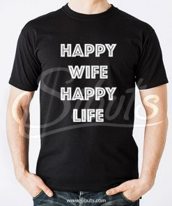 Playera hombre negra Happy Wife Happy Life