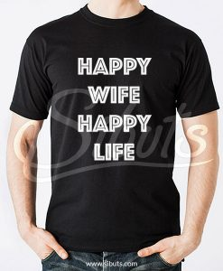 Playera hombre negra Happy Wife Happy Life