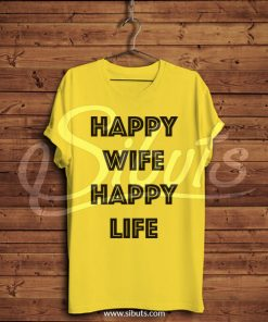 Playera hombre amarilla Happy Wife Happy Life