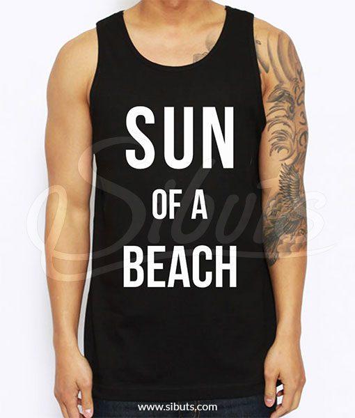 Playera hombre negra sin mangas Sun of a beach