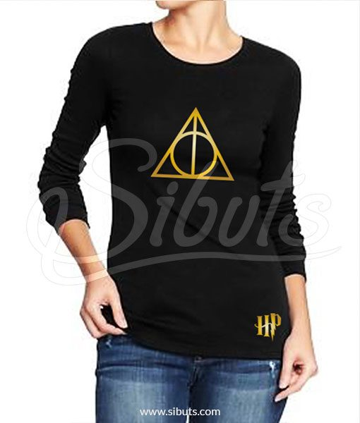 Playera mujer manga larga dorado Harry Potter Deathly Hallows