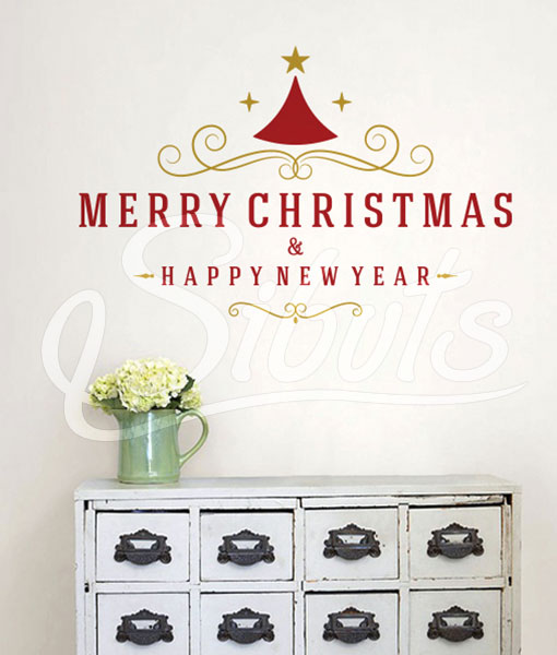 Vinilo Decorativo Navidad Merry Christmas And Happy New Year
