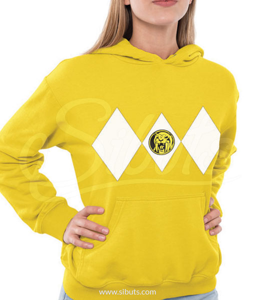 Sudadera con gorro para mujer power ranger amarillo