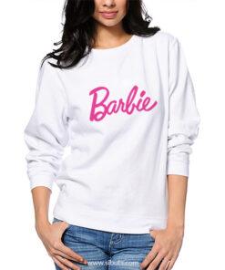 Sudadera blanca de cuello redondo para mujer barbie