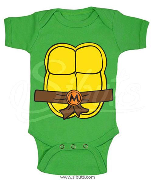 Pañalero verde bebé tortugas ninja Miguel Angel
