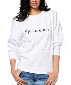 Sudadera cuello redondo blanca mujer friends