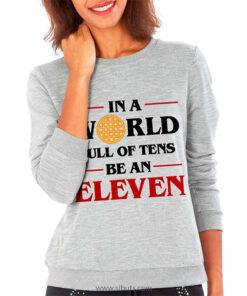 Sudadera cuello redondo gris mujer Stranger Thing Eleven tarta