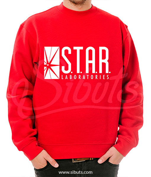 Sudadera cuello redondo hombre Star Laboratories roja
