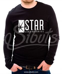 Playera manga larga hombre star labs flash