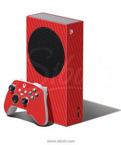 Skin Xbox Series S Fibra carbono rojo